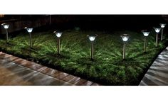 Homebrite Solar Power Sierra Path Lights - Set of 8- Stainless Steel - Solar Lights at Hayneedle
