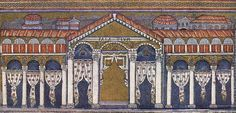 Mosaic depiction of the front of Theoderic's Palace on the upper part of the south wall of the nave of San Apollinare Nuovo in Ravenna.
