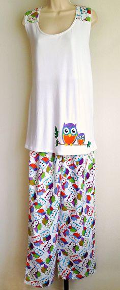 Women's Pajamas - Two-piece Night Set Ladies or Juniors Racerback Sleepwear Loungewear - Colorful Mutlicolor Owl Pattern Cotton Knit Gift