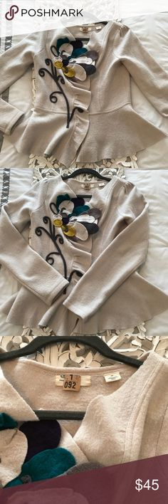 Anthro Sleeping on Snow sweater blazer Sz small Absolutely beautiful Peplum blazer from Sleeping on Snow. Cream color, with jewel-toned appliqué flowers. All snaps are very secure and functional. No flaws! Anthropologie Sweaters