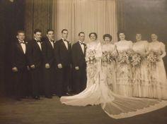 VTG 40's WEDDING Bride & Groom PARTY  Photo  B&W   8x10 LOVELY DRESSES Flowers     eBay