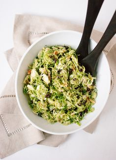 Honey Mustard Brussels Sprout Slaw. Recipe on cookieandkate.com.