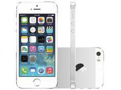 """iPhone 5S Apple 16GB Prata Tela 4"""" Retina 4G - Câmera 8MP + Frontal iOS 7 Proc. M7 Touch ID com as melhores condições você encontra no Magazine Vendasnetline. Confira!"""