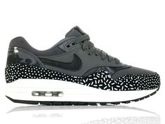 more photos 129e0 7ece9 Nike Air Max 1 Print (528898-001) Dark Grey Black White Womans shoes