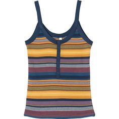 RVCA Women's Second Thoughts Striped Tank Top (50,515 KRW) ❤ liked on Polyvore featuring tops, dark denim, striped top, striped tank top, ribbed tank, vintage tank tops and rib tank top