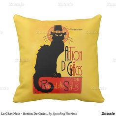 Le Chat Noir - #thanksgiving # ActionDeGrâces Throw Pillow by #SpoofingTheArts #gravityx9 #Zazzle LeChatNoir