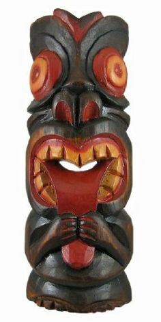 Hand Carved Painted Silly Tiki Wooden Wall Mask by Private Label. $14.99. This awesome looking tiki wall mask, making a silly face, is hand-carved from Indonesian Albessia wood, and hand-painted with red and orange paints to show off the detail. Measuring 11 inches tall, 4 inches at its widest and 2 inches deep, it looks great on walls in patios, living rooms, offices, bedrooms, even in kitchens.This wall mask makes a great gift for friends and family. NOTE: Since these masks are...
