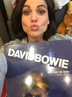 Awesome Lana holding her awesome new David Bowie cd collection #VancouverBC #Canada Tuesday 9-27-16