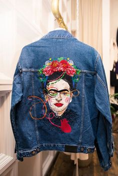 Katya Dobryakova denim jacket with Frida Kahlo.