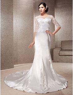 Trumpet/fishtail V-neck Empire Court Train Half Sleeve Zipper Stretch Satin Illusion Hall Wedding Dress #170016(More color option)