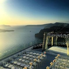 Picture perfect: The wedding was held at Santos Winery on the Greek Island of Santorini, o...