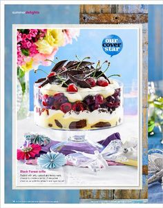 Just a trifle: Black Forest trifle. Layers of sweetness you see, this is dessert art! - clipped from page 16 of Better Homes and Gardens, Better Homes and Gardens January 2014 issue by the Netpage app. Trifle Desserts, Just Desserts, Dessert Trifles, Delicious Desserts, Better Homes And Gardens, Black Forest, Parfait, Allrecipes, Oatmeal