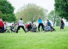 Moms working out in Middleburg Heights Community Park at Baby Boot Camp Cleveland.