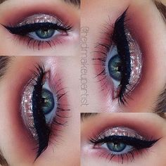 Love it - Sparkles, pink and brown cut crease, great spring/summer look: