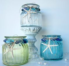 Beach Decor CLEAR Jar w Beads & Starfish  por beachgrasscottage, $35.00