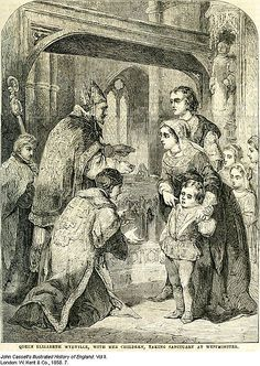 Queen Elizabeth Woodville with her daughters and her son Richard in sanctuary, from John Cassel's Illustrated History of England, Vol II. Uk History, History Of England, British History, Family History, Tudor History, Ancient History, Elizabeth Woodville, The White Princess, White Queen