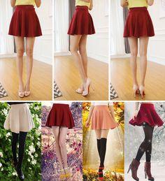 Women Candy Color Stretch Waist Plain Skater Flared Pleated Mini Skirt