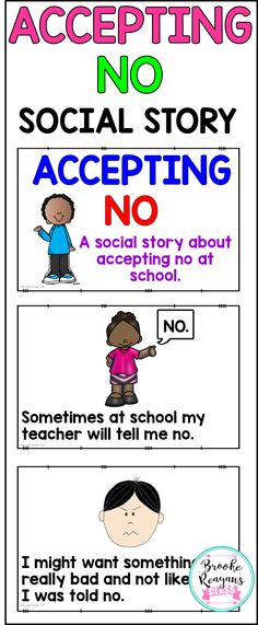 Social Stories: Accepting No Social Stories: Accepting No,Social skills lessons Social Story: Accepting No. Great for special education students, student with autism, or student that struggle with appropriate school behavior. Social Skills Lessons, Social Skills Activities, Teaching Social Skills, Social Emotional Learning, Coping Skills, Therapy Activities, Life Skills, Play Therapy, Articulation Activities