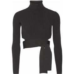 Cushnie et Ochs - Cropped Ribbed Stretch-knit Top (2.515 NOK) ❤ liked on Polyvore featuring tops, black, cropped turtleneck, wrap tie top, cut-out tops, wrap around crop top and turtleneck top