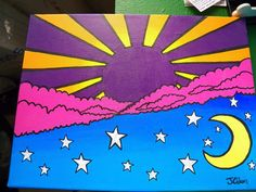 pop art trippy like Peter max by BugOutStudios on Etsy art trippy psychedelic pop art trippy like Peter max by BugOutStudios on Etsy Simple Canvas Paintings, Easy Canvas Art, Small Canvas Art, Mini Canvas Art, Small Paintings, Canvas Ideas, Diy Canvas, Hippie Painting, Trippy Painting