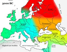 Europe/Western Eurasia around 3000 BC, showing the expansion of Iran/EHG hybrid populations (now given the name 'Yamnaya') westward, and the expansion of CHG or Iranian populations further into Anatolia.