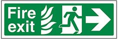 Cheap VSafety 14023AX-S Fire Exit Sign NHS Fire Exit Arrow Right Self Adhesive Landscape 300 mm x 100 mm Green deals week