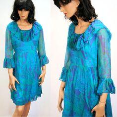 Ocean Breeze, 60s Dress, Mod Floral Dress, Elinor Gay, Blue Green Purple Chiffon Dress, M, FREE US Shipping! by MorningGlorious on Etsy