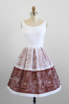 1950s dress / 50s dress / White and Brown Swan and Rooster Novelty Print Dress