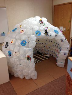 Our igloo in pretend play. Decided not to frame out the door so it's easier to see inside. The kids and parents love it.