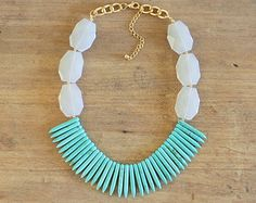 Gold Clear and White Statement Necklace Gold Beaded by ShopNestled