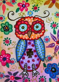 whimsical wise ow, bird, wise owl,blooms , flower , florals , whimsical , pristine , cartera , turkus , folk , painting , cool , mexican , birthday , baby , nursery,GREAT HOUSEWARMING GIFT