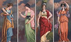 Four Cardinal Virtues - Temperance, Prudence, Fortitude, Justice - This beautiful hand-colored print depicts the Four Cardinal Virtues, the practice of which is inculcated in the First or Entered Apprentice Degree of Freemasonry and are thus explained. Virtue Ethics, Masonic Art, Masonic Symbols, Image Guide, Christian Symbols, Eastern Star, New Saints, Tarot Card Decks, Ascended Masters
