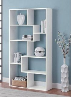 White Bookcase Versatile 8Shelf Off-Beat Avangard Style Irregular Formed Shelves #Mainstays #Contemporary
