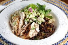Black Beans and Rice with Chicken and Green Apple Salsa, from ourbestbites.com