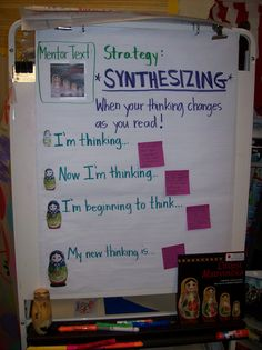 Life in 4B...: Synthesizing...I also like the idea of gluing a picture of the cover of the mentor text to the chart