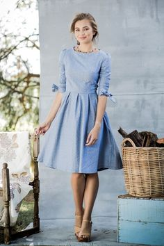 Chambray G'Day Dress from the Aussie Afternoon Collection by Shabby Apple