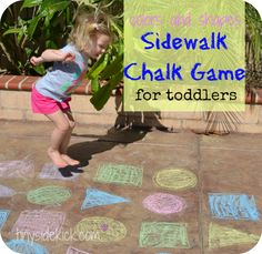 Colors & Shapes: try this as a Spanish activity! Great for practicing shapes in Spanish and colors in Spanish with kids learning Spanish. #Spanish for kids #Spanish for preschoolers #Teaching Spanish outdoor toddler, group games, chalk game, color, sidewalk chalk, toddler play, toddler games, toddler activities, kid