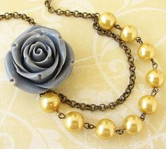 Flower Necklace, Bridesmaid Jewelry, Gray and Yellow Necklace, Bridal Jewelry, Gray Necklace. $30.00, via Etsy.