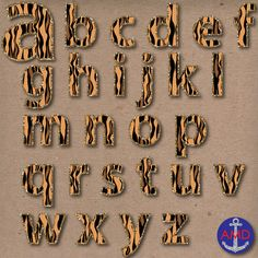 Tiger Stripes & Glitter Digital Alphabet and by AnchorMeDesigns, $1.50