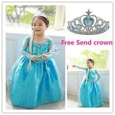 Hot Niñas Vestidos Disney Elsa congelados Vestido Disfraz Princesa Anna Niña Vestido 3-8y