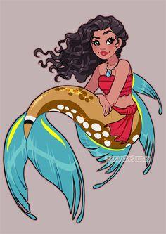 Disney Princess Heroine - Moana - Mermaid - art by Laetitia Bachellez Disney Princesses As Mermaids, Disney Princess Art, Mermaids And Mermen, Mermaid Princess, Disney Fan Art, Disney Girls, Princess Moana, Punk Disney, Sailor Princess