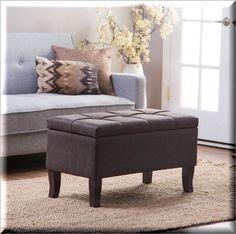Storage Ottoman Bench Table Terylene Tufted Top Living Room Modern Furniture  | eBay