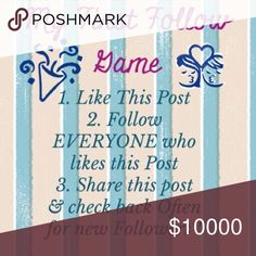 HELP ME Grow My Followers!! 💞And YOURS! ! 🎉My First Follow Game! 🎉                                                                      *Like this listing 😘                                                                       *Follow me & ALL who Like this listing😘😘                                                                             *Share, Share, & Share More💞 *✅🔙🔜& OFTEN for 🆕🚻…