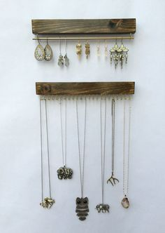 No more tangled or broken necklaces or earrings! These hand crafted organizer is the perfect way to showcase the true beauty of each piece. As