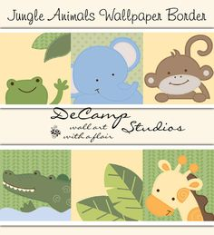 Jungle animals wallpaper border wall decals for baby boy or girl nursery and children's room decor #decampstudios