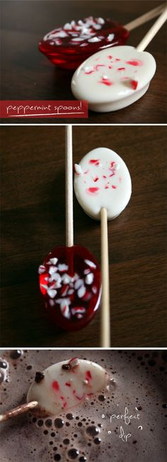 Hot Cocoa Peppermint Spoons! #holiday #treats  I envision these all wrapped up with a pretty little bow on my desk!
