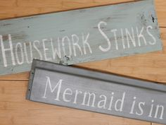 Recycled wood signs, made in Kailua, HI