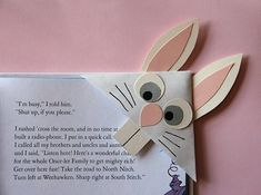 DIY Bunny Bookmark not sure if i think this is cute or scary but i'm gonna probably have the kids make them anyway!!