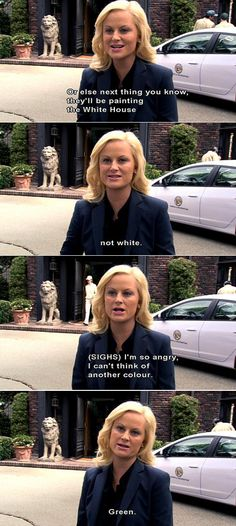 "Parks and Recreation Season Two Episode 20: 94 Meetings. ""Or else next thing you know they'll be painting the White House not white. I'm so angry I can't think of another color... Green."""