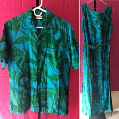 60604d4f6c8 Vintage HAWAIIAN Luau WEDDING SET Liberty House Dress Shirt TIKI MCM 60s  70s MOD